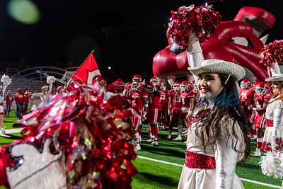 A Carthage drill team member smiles on the field prior to a game a 4A Division I playoff game against Midlothian Friday, Dec. 6, 2019, at the Tomato Bowl in Jacksonville. (Cara Campbell/Tyler Morning Telegraph)