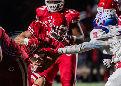 Carthage's Mason Courtney (2) attempts to push past Midlothian defenders during 4A Division I playoff action Friday, Dec. 6, 2019, at the Tomato Bowl in Jacksonville. (Cara Campbell/Tyler Morning Telegraph)