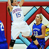 Globe/T. Rob Brown<br /> Webb City's Mikaela Burgess brings down a rebound ahead of Carthage's Chloe Shepherd during Monday night's game, Feb. 11, 2013, at Webb City's gymnasium.