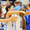 Globe/T. Rob Brown<br /> Webb City's Megan Heman (left) and Mikaela Burgess hug following their win against Carthage Saturday afternoon, March 2, 2013, during the District 12 Class 4 Basketball Tournament in Carthage High School's gymnasium.