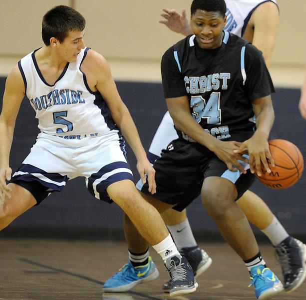 The Southside Christian Sabres played host to the Christ Church Cavaliers in a Region 2-A basketball game.<br /> GWINN DAVIS PHOTOS<br /> gwinndavisphotos.com (website)<br /> (864) 915-0411 (cell)<br /> gwinndavis@gmail.com  (e-mail) <br /> Gwinn Davis (FaceBook)