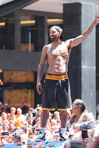 HALEE HEIRONIMUS / GAZETTE Cavaliers player J.R. Smith continued the shirtless look on Wednesday that he began on Monday when the team plane arrived back in Cleveland from the West Coast.