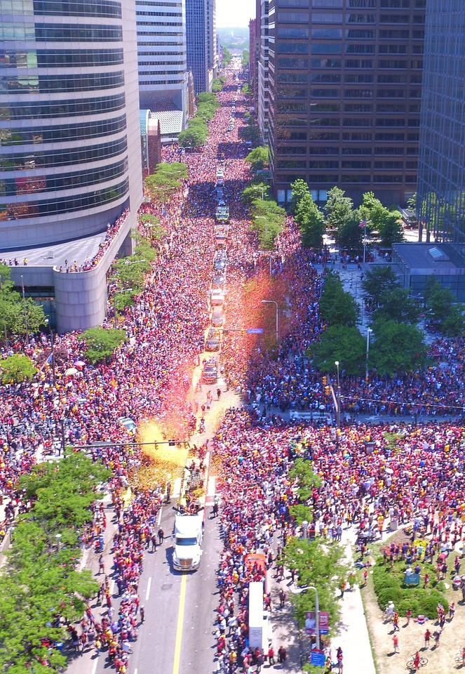 Bruce Bishop took this photo from a Dronewerx drone of the Cavs championship parade snaking through the crowd down East Ninth Street.