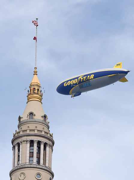 KRISTIN BAUER | GAZETTE The Goodyear Blimp flew overhead during the parade celebrating the Cleveland Cavaliers on their 2016 NBA Championship title.