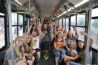 ASHLEY FOX / GAZETTE Fans that waited more than two hours for public transit from W. 150th in Cleveland to downtown show their excitement as their bus gets ready to leave the terminal for the Cleveland Cavaliers victory parade and rally. All day passes were $5 to the festivities.