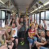 ASHLEY FOX / GAZETTE<br /> Fans that waited more than two hours for public transit from W. 150th in Cleveland to downtown show their excitement as their bus gets ready to leave the terminal for the Cleveland Cavaliers victory parade and rally. All day passes were $5 to the festivities.
