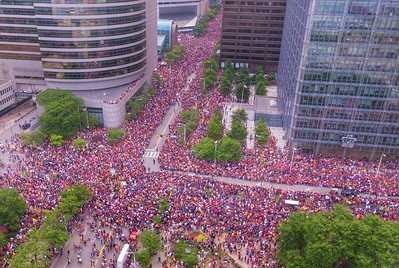 Bruce Bishop took this photo from a Dronewerx drone of East Ninth Street and Lakeside Avenue during the Cavs championship parade.