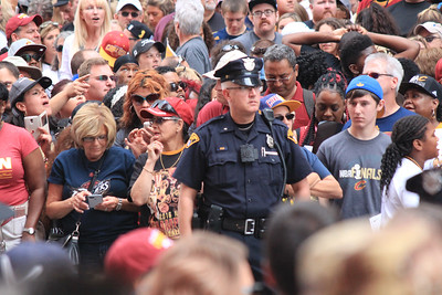HALEE HEIRONIMUS / GAZETTE Cleveland Police played a key role Wednesday in attempting to keep order as thousands of fans descended on downtown to celebrate the Cavaliers' 2016 NBA Finals championship.