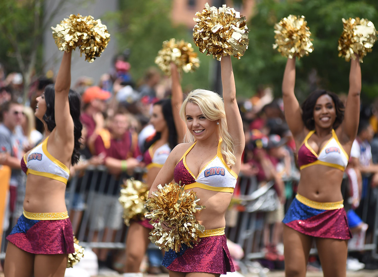 KRISTIN BAUER | GAZETTE The Cavs girls danced and cheered during the parade celebrating the Cleveland Cavaliers recent championship title.