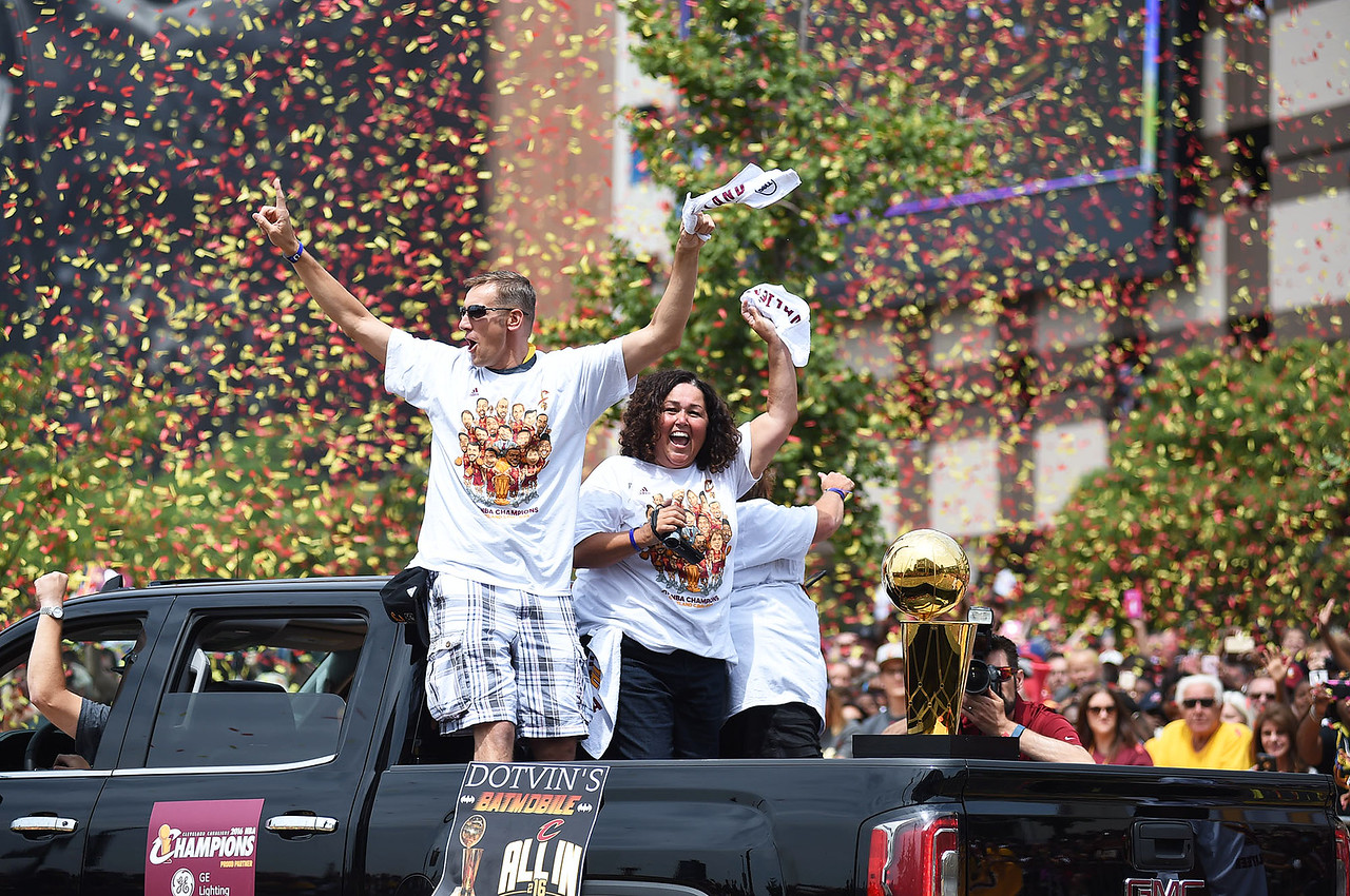 KRISTIN BAUER   GAZETTE The Larry O'Brien Championship Trophy was toted throughout the parade route on Wednesday morning, June 22, in celebrtion of the Cav's championship title.