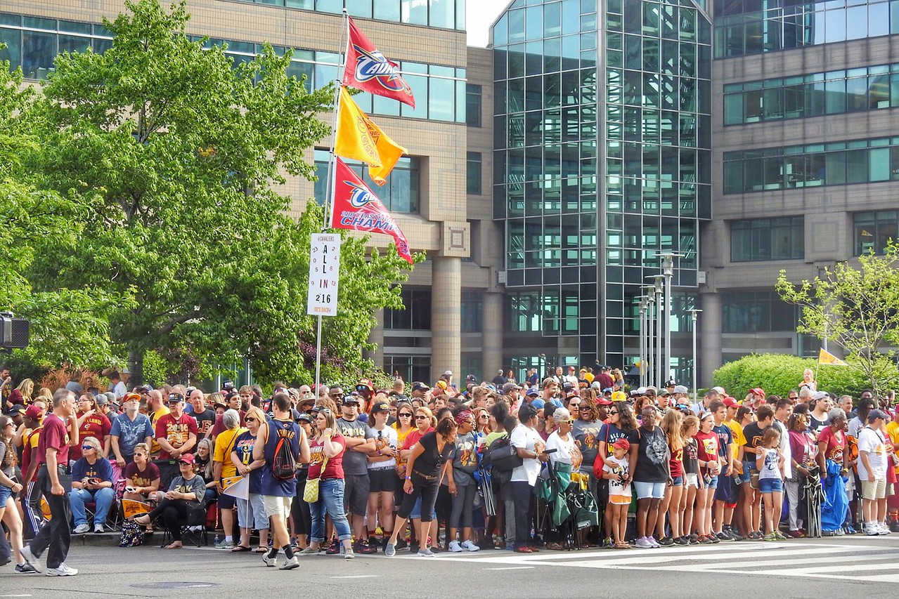 Crowds gather on East Ninth Street for the Cavs championship parade. BRUCE BISHOP/GAZETTE