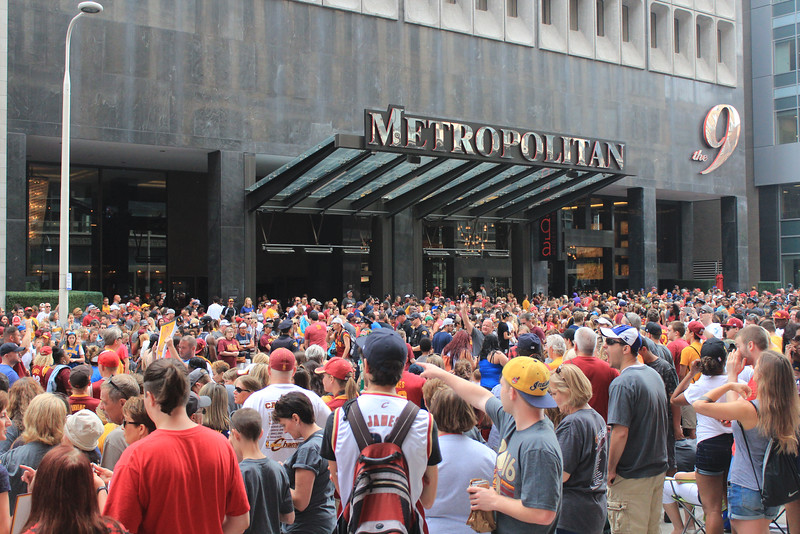 HALEE HEIRONIMUS / GAZETTE The hotel Metropolitan at the 9 was a popular gathering place Wednesday morning for fans awaiting a parade to celebrate the 2016 NBA Finals title won by the Cavaliers.