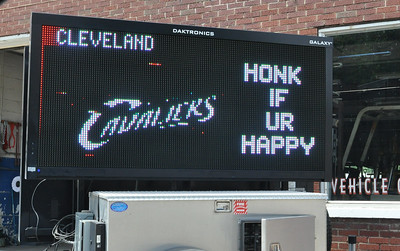 ASHLEY FOX / GAZETTE A sign in front of Medina Signs, 411 W. Smith Rd., Medina, shows Cleveland Cavaliers support on Monday after the team won Game 7 of the NBA Finals against defending champions the Golden State Warriors Sunday night in California.