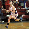 Centaurus' Anna Hubbell drives the ball down courtt against Moffat County during Saturday's state 4A playoff game at Centaurus.<br /> February 24, 2012 <br /> staff photo/ David R. Jennings