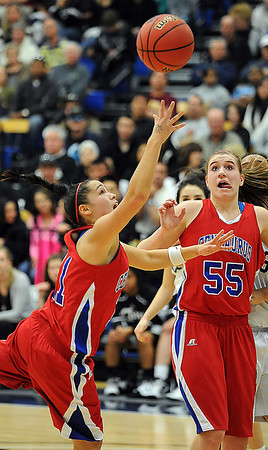 Centaurus' MaurissaOrtega goes to the basket against Puebo South during Saturday's girls 4A state great eight playoff game at the Colorado School of Mines.<br /> March 2, 2012 <br /> staff photo/ David R. Jennings