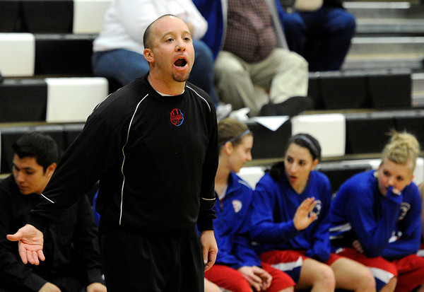 "Centaurus High School Head Coach Jeff Jackson yells to his players on Monday, Feb. 6, during a game against Silver Creek High School at Silver Creek High School in Longmont. Silver Creek defeated Centaurus 56-51. For more photos of the game go to  <a href=""http://www.dailycamera.com"">http://www.dailycamera.com</a><br /> Jeremy Papasso/ Camera"