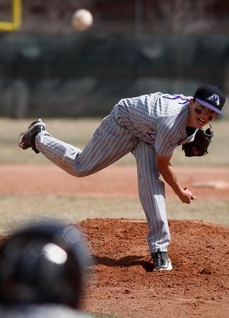 Mountain View's Adam Baumann, #6, pitches during the 1st inning of the game verses Centaurus high school Saturday, March 24, 2012, Lafayette.  <br /> Photo By Derek Broussard