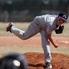 Mountain View's Adam Baumann, #6, pitches during the 1st inning of the game verses Centaurus high school Saturday, March 24, 2012, Lafayette.  <br /> Photo By Derek Broussard