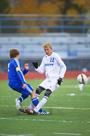 S1011SOCCER1<br /> Centarus' #2, Erik Spangler collides with Broomfield's #22, Thomas Adelmann during their game at Broomfield High School on Tuesday evening, October 10th, 2012.<br /> <br /> Photo by: Jonathan Castner