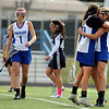 "Centaurus High School's Emma Lazaroff hugs teammate Abby Brown after Brown scored a goal on Saturday, April 23, during a lacrosse game against Columbine at Centaurus High School. Centaurus won the game 20-12. For more photos go to  <a href=""http://www.dailycamera.com"">http://www.dailycamera.com</a><br /> Jeremy Papasso/ Camera"