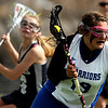 "Centaurus High School's Mariah Kline charges towards the goal on Saturday, April 23, during a lacrosse game against Columbine High School at Centaurus High School. Centaurus won the game 20-12. For more photos go to  <a href=""http://www.dailycamera.com"">http://www.dailycamera.com</a><br /> Jeremy Papasso/ Camera"
