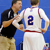 "Centaurus High School Head Coach Andy Horning talks with Nate McGinley during a game against D'Evelyn High School on Saturday, Dec. 17, at Centaurus. D'Evelyn won the game 81-64. For more photos of the game go to  <a href=""http://www.dailycamera.com"">http://www.dailycamera.com</a><br /> Jeremy Papasso/ Camera"