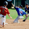 "Adam Reigle (2) of the Longmont Twins gets to second as the throw gets past Jeff Manders of the Warriors.<br /> For more photos of the game, go to  <a href=""http://www.dailycamera.com"">http://www.dailycamera.com</a>.<br /> Cliff Grassmick / July 12, 2012"