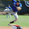 """Ryan Norton, top, of the Warriors, attempts to catch a high throw as Reilly Mau of the Longmont Twins is safe at second.<br /> For more photos of the game, go to  <a href=""""http://www.dailycamera.com"""">http://www.dailycamera.com</a>.<br /> Cliff Grassmick / July 12, 2012"""