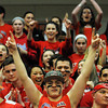The Central Crazies react to their teams win at the Raider's game against St. John's Prep during the Div. 1 North semifinal game at Beverly High School.  Photo by Paul Bilodeau.