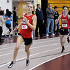 CARL RUSSO/Staff photo. North Andover girls defeated Central Catholic 47-39 in a track meet held at North Andover high Wednesday night. North Andover sophomore, Mary Lavery (left) and junior, Erin Kelley compete in the 300 meters race. Lavery captured third place. 12/12/2012.