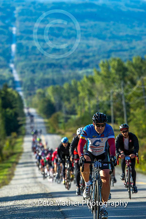 This was taken around 8:45 am  on Grey road 7 from Kimberly, Ontario which is the heart land of the Beaver Valley which extends itself to Thornbury,Ontario. You can see can roadbikes trailing way down the road. I like this shot because it shows a clear image in focus then fades quickly into the valley.