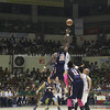 Landry Sanjo and Mike Harry Nzeussue during jump ball. (Jonathan Vincent Tan/Sunnex)