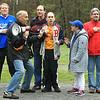 L-R Coach Jim Dichault - Coach Rick Cloutier, Peter Hanley, Matt Cloutier, Jillian Berube and Mayor Steve DiNatale sing the National Anthem