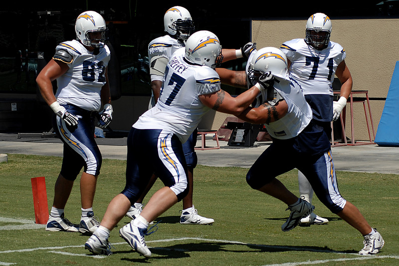 Jeremy Sheffey and another offensive lineman go one on one.