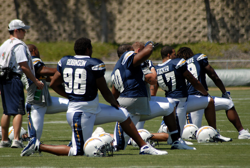 Defensive ends and linebackers get their stretch on too.