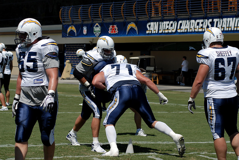 The offensive line work on blocking techniques.