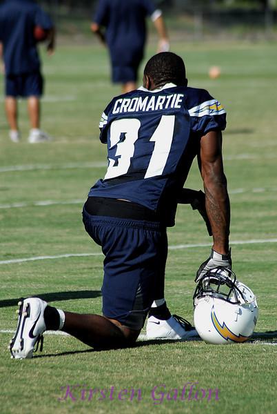 Antonio Cromartie, a cornerback, takes a break.