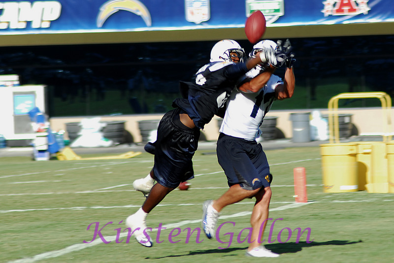 Gabe Franklin makes a great play against wide receiver Rich Musinski.
