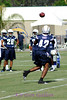 Clinton Hart, a free safety, waiting on the ball during a defensive back drill.
