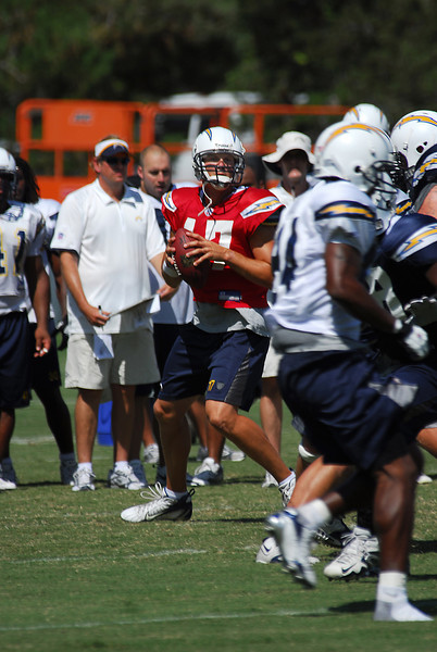 Philip Rivers looking for an open receiver.