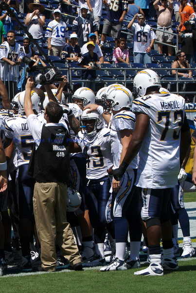 Chargers pre-game huddle