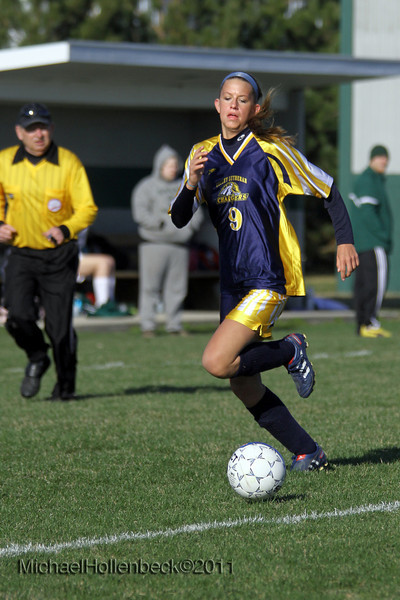 Saginaw Valley Lutheran High School vs Laker High School in girls soccer Tuesday April 12, 2011.<br /> Chargers vs Lakers