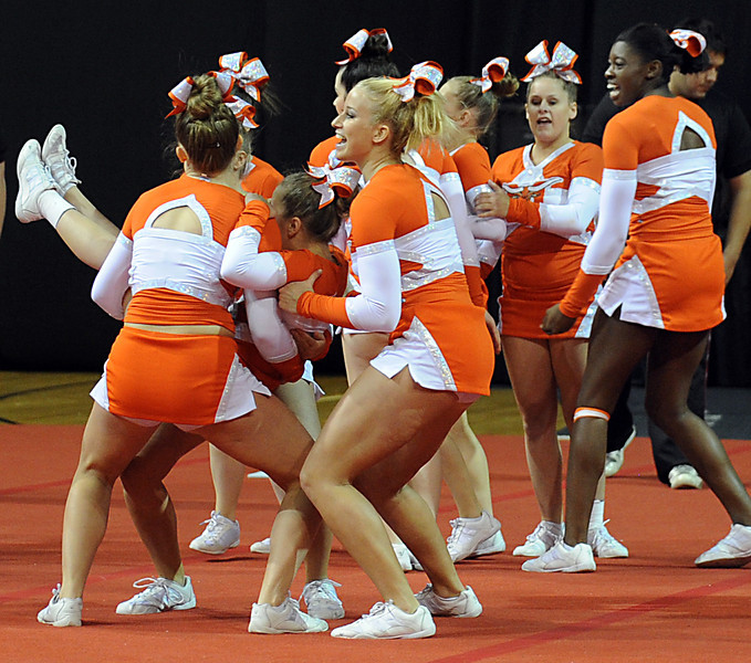 The South Carolina High School Cheerleading State Championships were held at Bi-Lo Center in Greenville.<br /> GWINN DAVIS PHOTOS<br /> gwinndavisphotos.com (website)<br /> (864) 915-0411 (cell)<br /> gwinndavis@gmail.com  (e-mail) <br /> Gwinn Davis (FaceBook)