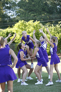 DS JV Cheerleaders practice before going to the (was a home game) Rockmart game