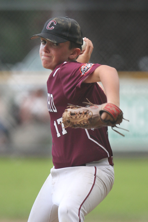 . Chelmsford wins over Burlington in EMass 11-year-old Cal Ripken State Tournament and will go on to New England Regional in Maine. Chelmsford pitcher Keegan Briere in second inning. (SUN/Julia Malakie)