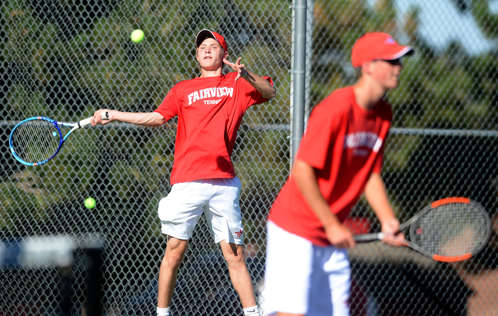 . BOULDER, CO - SEPTEMBER 12: Beck Chrisbens, left,  and Brody Pinto, no. 1 doubles player for Fairview. Fairview High School played Cherry Creek in Boy\'s tennis in Boulder on September 12, 2018. (Photo by Cliff Grassmick/Staff Photographer)