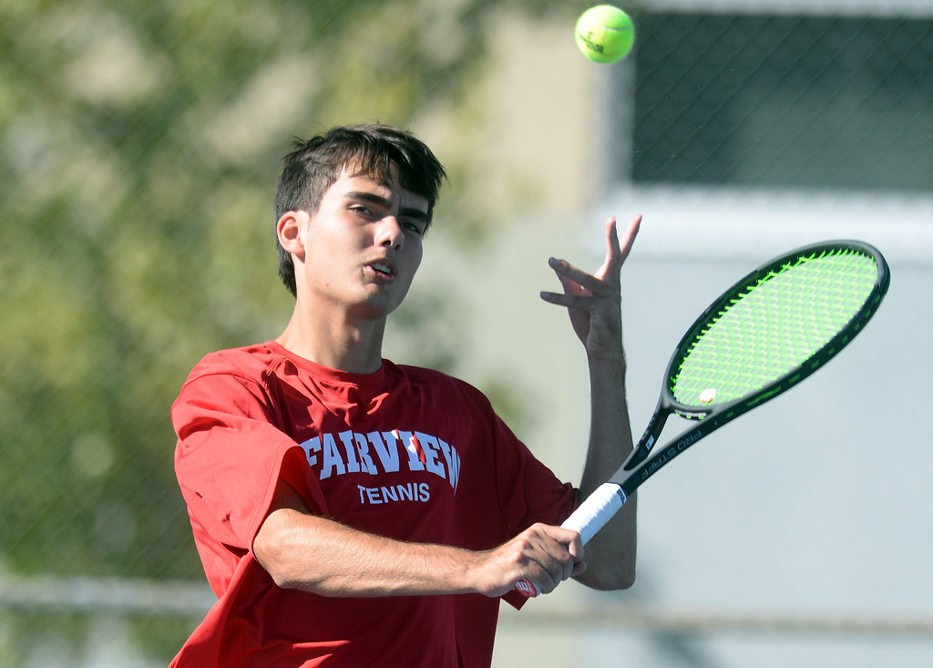 . BOULDER, CO - SEPTEMBER 12:  Kian Grimison, no. 2 singles player for Fairview. Fairview High School played Cherry Creek in Boy\'s tennis in Boulder on September 12, 2018. (Photo by Cliff Grassmick/Staff Photographer)