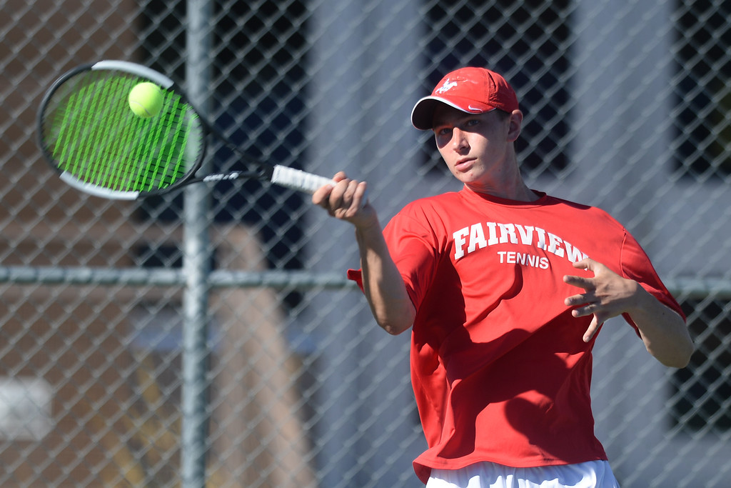 . BOULDER, CO - SEPTEMBER 12:  Luke Silverman, no. 1 singles player for Fairview. Fairview High School played Cherry Creek in Boy\'s tennis in Boulder on September 12, 2018. (Photo by Cliff Grassmick/Staff Photographer)