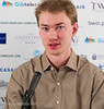 Emanuel Berg in the commentary room after his terrific last round win against Maxime Vachier-Lagrave.  He won the £1,000 Best Game Prize.