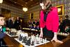 8728 - Rachel Reeves MP begins the Simultaneous Display, watched by Garry Kasparov and Nigel Short